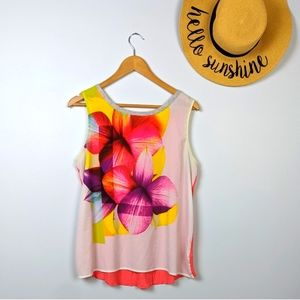 Apt. 9 Floral Graphic Sleeveless Flowy Blouse L